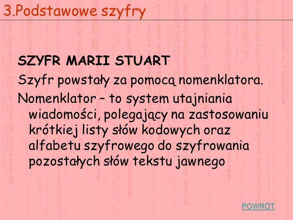 SZYFR MARII STUART Szyfr powstały za pomocą nomenklatora. Nomenklator – to system utajniania wiadomości, polegający na zastosowaniu krótkiej listy słó