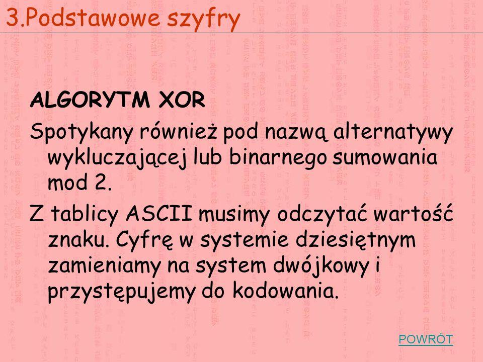ALGORYTM XOR Spotykany również pod nazwą alternatywy wykluczającej lub binarnego sumowania mod 2. Z tablicy ASCII musimy odczytać wartość znaku. Cyfrę