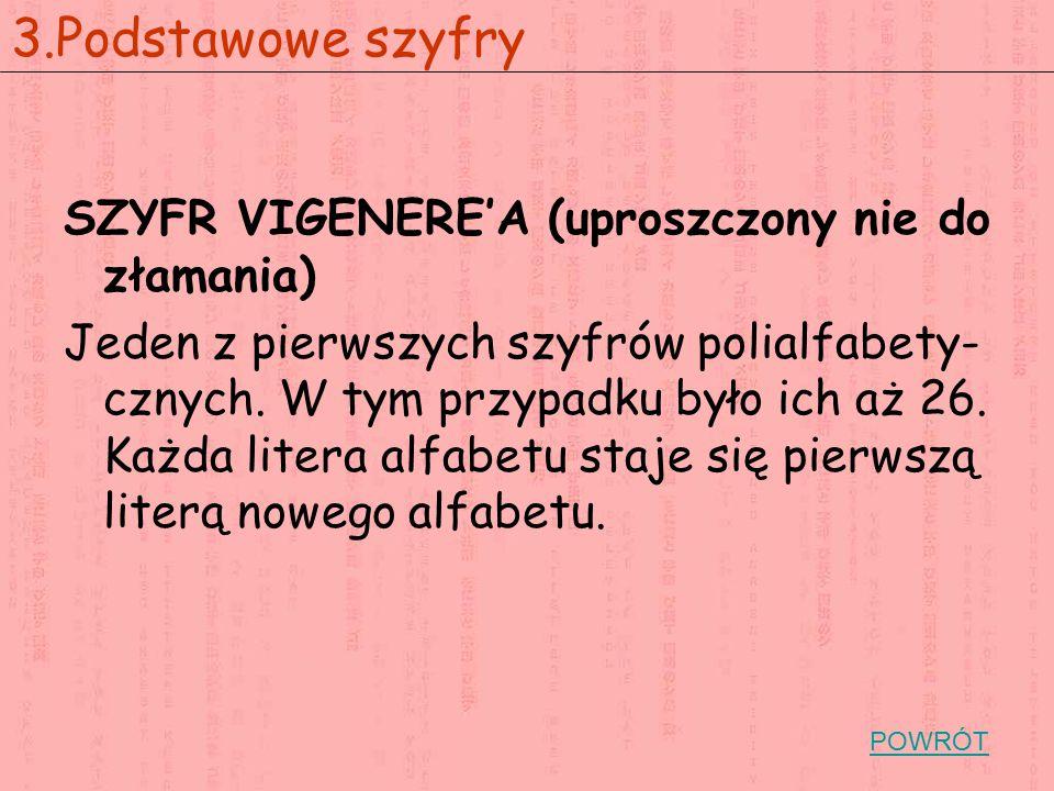 SZYFR VIGENERE'A (uproszczony nie do złamania) Jeden z pierwszych szyfrów polialfabety- cznych. W tym przypadku było ich aż 26. Każda litera alfabetu