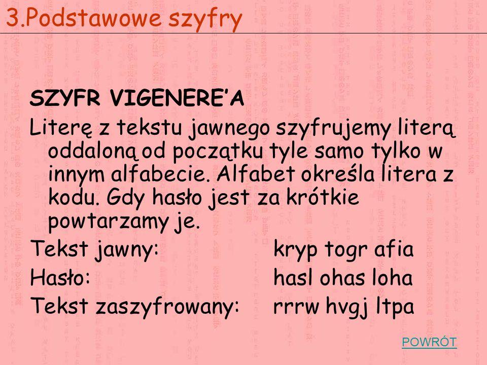 SZYFR VIGENERE'A Literę z tekstu jawnego szyfrujemy literą oddaloną od początku tyle samo tylko w innym alfabecie.