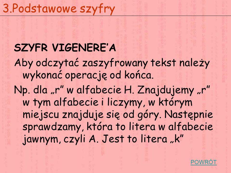 """SZYFR VIGENERE'A Aby odczytać zaszyfrowany tekst należy wykonać operację od końca. Np. dla """"r"""" w alfabecie H. Znajdujemy """"r"""" w tym alfabecie i liczymy"""