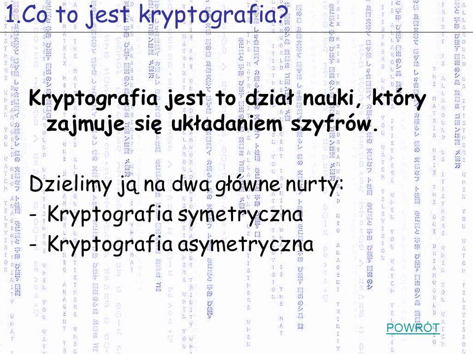 Kryptografia jest to dział nauki, który zajmuje się układaniem szyfrów. Dzielimy ją na dwa główne nurty: -Kryptografia symetryczna -Kryptografia asyme