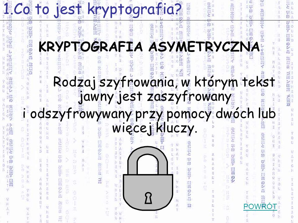 *SPIS TRESCI * 1.Co to jest kryptografia.
