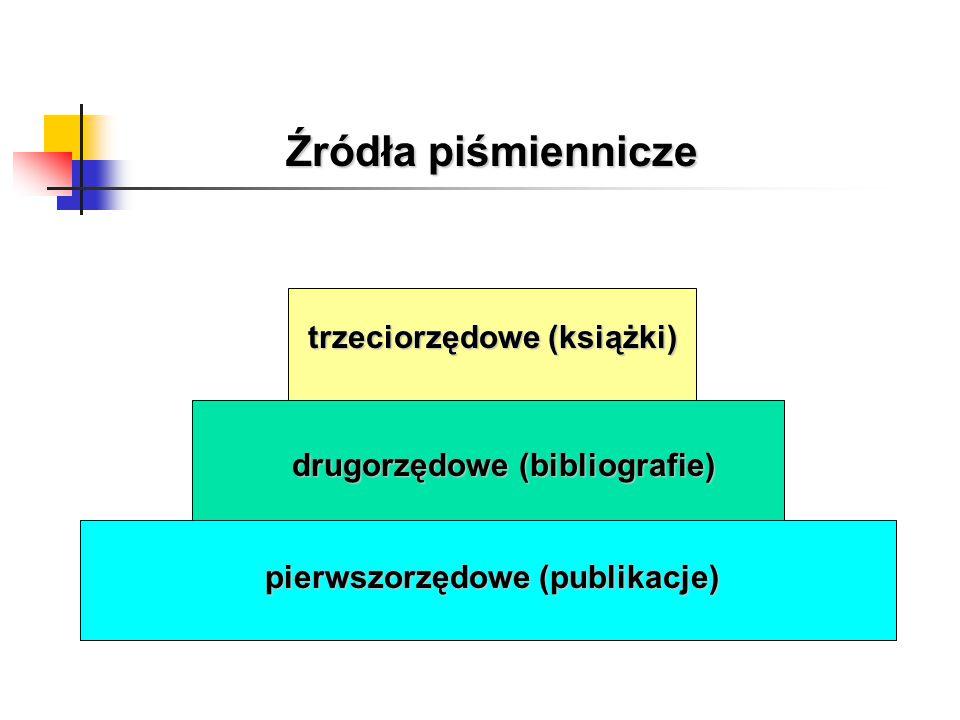 Źródła piśmiennicze pierwszorzędowe (publikacje) drugorzędowe (bibliografie) trzeciorzędowe (książki)