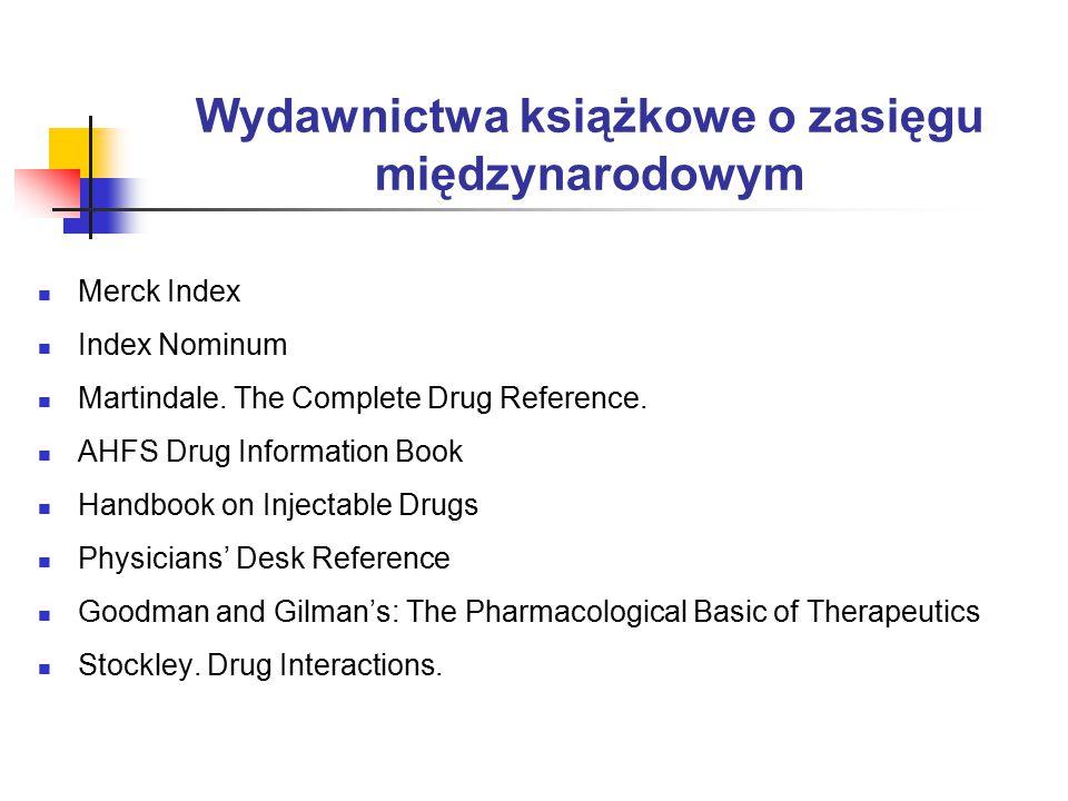 Wydawnictwa książkowe o zasięgu międzynarodowym Merck Index Index Nominum Martindale.