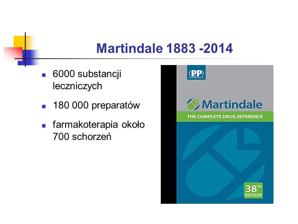 Martindale 1883 -2014 6000 substancji leczniczych 180 000 preparatów farmakoterapia około 700 schorzeń