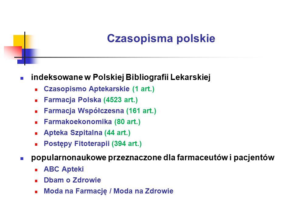Czasopisma polskie indeksowane w Polskiej Bibliografii Lekarskiej Czasopismo Aptekarskie (1 art.) Farmacja Polska (4523 art.) Farmacja Współczesna (161 art.) Farmakoekonomika (80 art.) Apteka Szpitalna (44 art.) Postępy Fitoterapii (394 art.) popularnonaukowe przeznaczone dla farmaceutów i pacjentów ABC Apteki Dbam o Zdrowie Moda na Farmację / Moda na Zdrowie