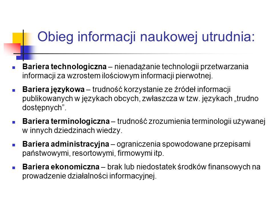 Obieg informacji naukowej utrudnia: Bariera technologiczna – nienadążanie technologii przetwarzania informacji za wzrostem ilościowym informacji pierwotnej.