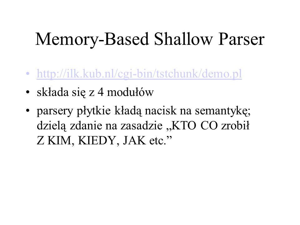 """Memory-Based Shallow Parser http://ilk.kub.nl/cgi-bin/tstchunk/demo.pl składa się z 4 modułów parsery płytkie kładą nacisk na semantykę; dzielą zdanie na zasadzie """"KTO CO zrobił Z KIM, KIEDY, JAK etc."""