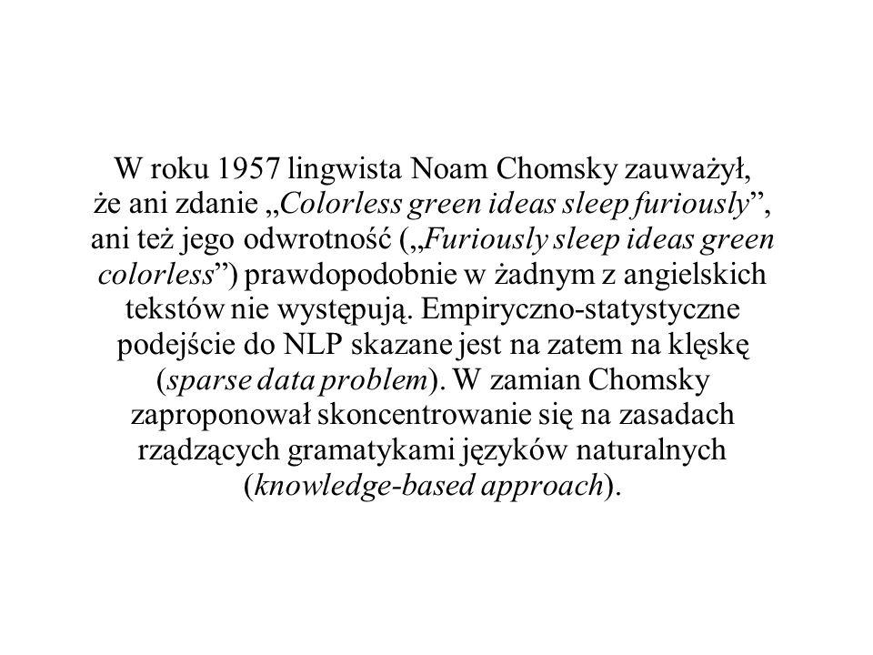 """W roku 1957 lingwista Noam Chomsky zauważył, że ani zdanie """"Colorless green ideas sleep furiously , ani też jego odwrotność (""""Furiously sleep ideas green colorless ) prawdopodobnie w żadnym z angielskich tekstów nie występują."""