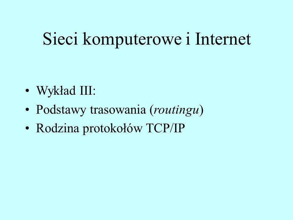 Sieci komputerowe i Internet Wykład III: Podstawy trasowania (routingu) Rodzina protokołów TCP/IP