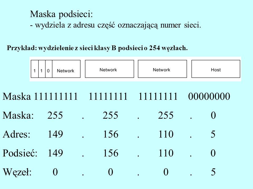 Maska podsieci: - wydziela z adresu część oznaczającą numer sieci. Maska 111111111 11111111 11111111 00000000 255. 255. 255. 0 149. 156. 110. 5 149. 1