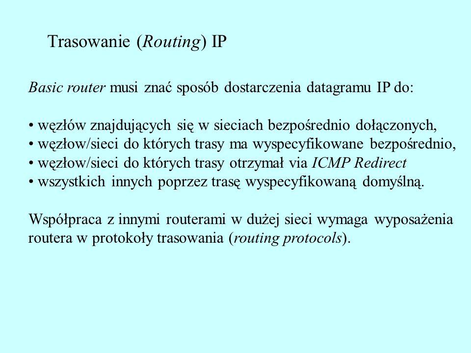 Trasowanie (Routing) IP Basic router musi znać sposób dostarczenia datagramu IP do: węzłów znajdujących się w sieciach bezpośrednio dołączonych, węzłow/sieci do których trasy ma wyspecyfikowane bezpośrednio, węzłow/sieci do których trasy otrzymał via ICMP Redirect wszystkich innych poprzez trasę wyspecyfikowaną domyślną.