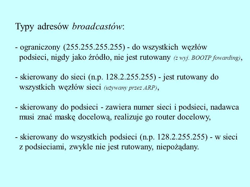 Typy adresów broadcastów: - ograniczony (255.255.255.255) - do wszystkich węzłów podsieci, nigdy jako źródło, nie jest rutowany (z wyj. BOOTP fowardin