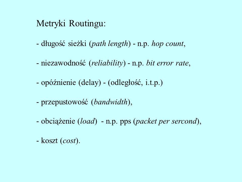 Metryki Routingu: - długość sieżki (path length) - n.p. hop count, - niezawodność (reliability) - n.p. bit error rate, - opóźnienie (delay) - (odległo