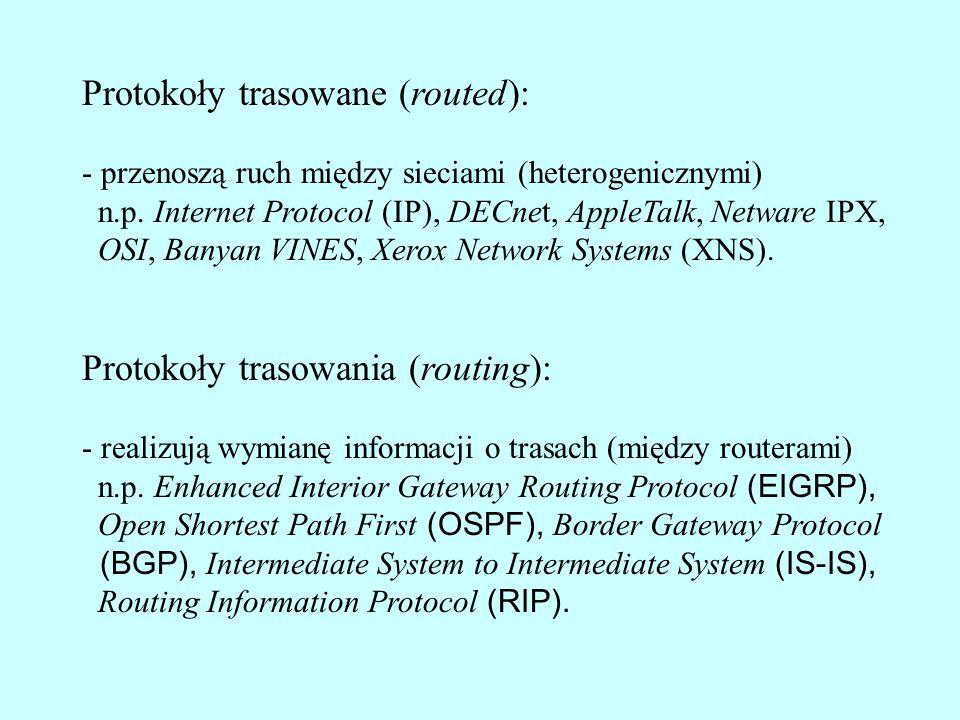 Protokoły trasowane (routed): - przenoszą ruch między sieciami (heterogenicznymi) n.p. Internet Protocol (IP), DECnet, AppleTalk, Netware IPX, OSI, Ba