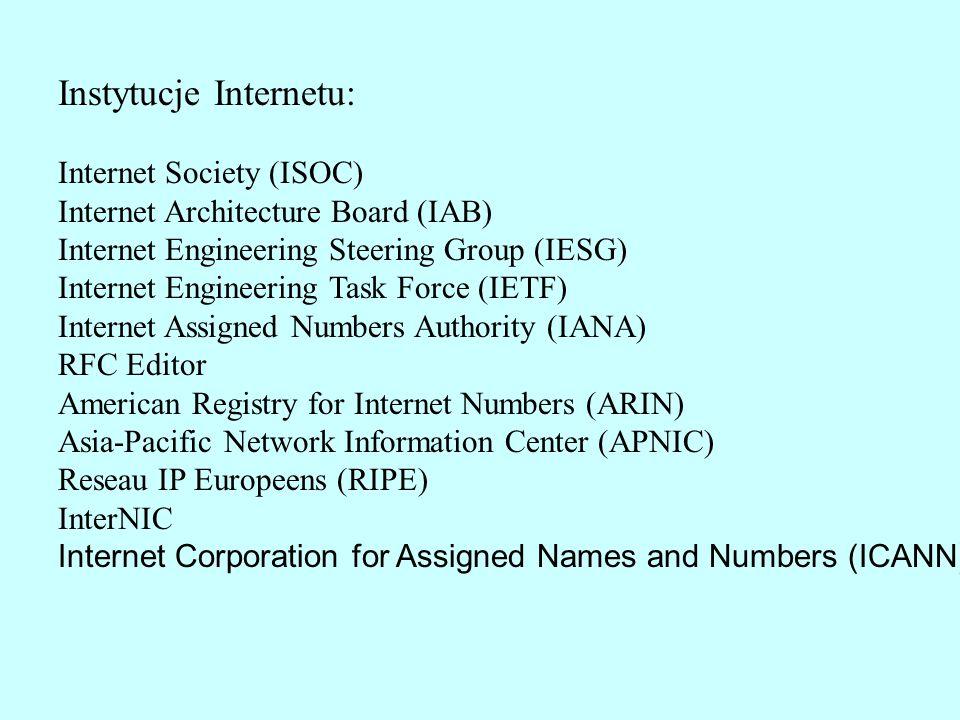 Instytucje Internetu: Internet Society (ISOC) Internet Architecture Board (IAB) Internet Engineering Steering Group (IESG) Internet Engineering Task F