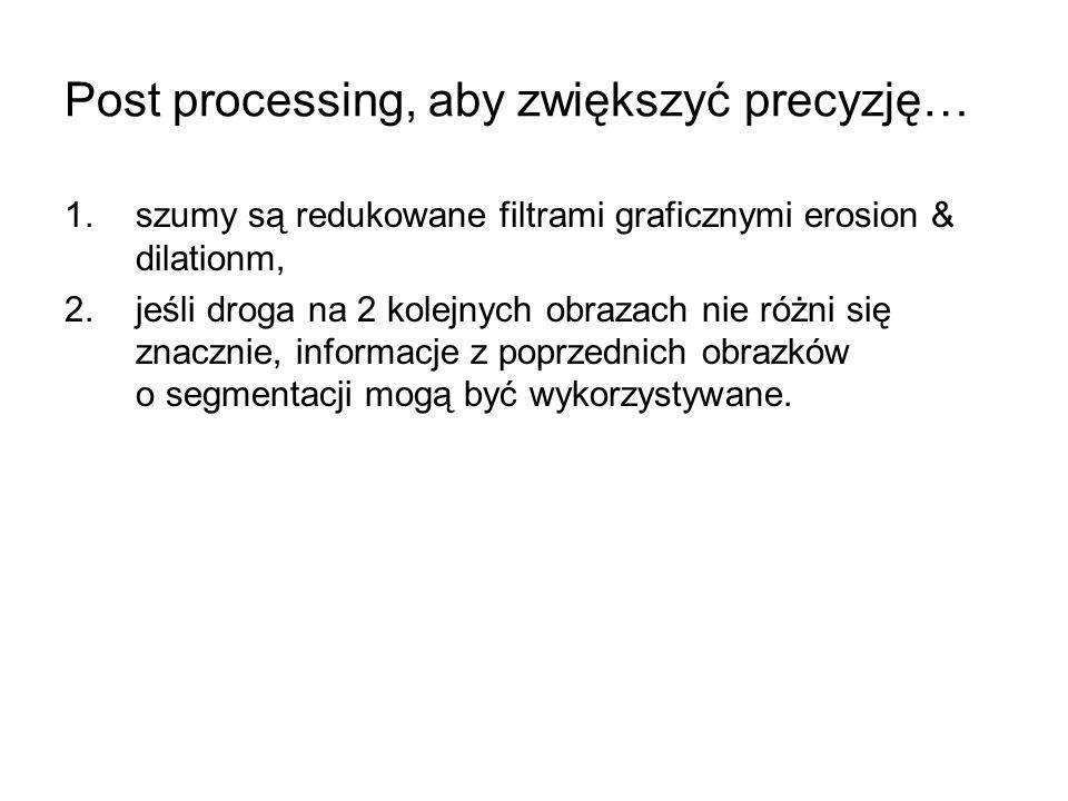 Post processing, aby zwiększyć precyzję… 1.szumy są redukowane filtrami graficznymi erosion & dilationm, 2.jeśli droga na 2 kolejnych obrazach nie różni się znacznie, informacje z poprzednich obrazków o segmentacji mogą być wykorzystywane.