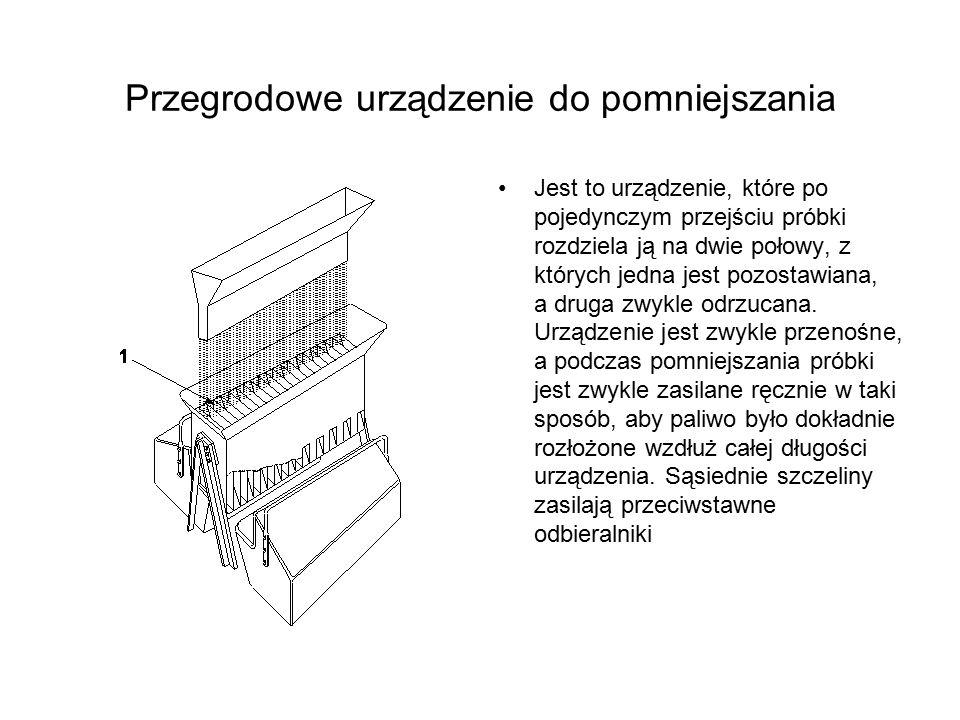 Przegrodowe urządzenie do pomniejszania Jest to urządzenie, które po pojedynczym przejściu próbki rozdziela ją na dwie połowy, z których jedna jest po