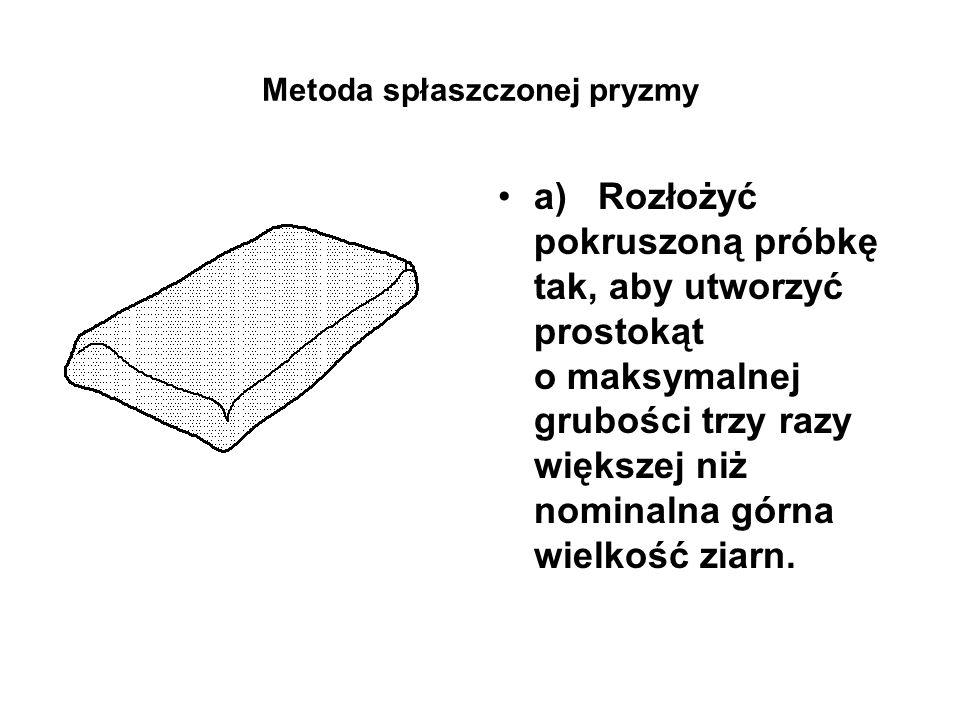 Metoda spłaszczonej pryzmy a) Rozłożyć pokruszoną próbkę tak, aby utworzyć prostokąt o maksymalnej grubości trzy razy większej niż nominalna górna wie