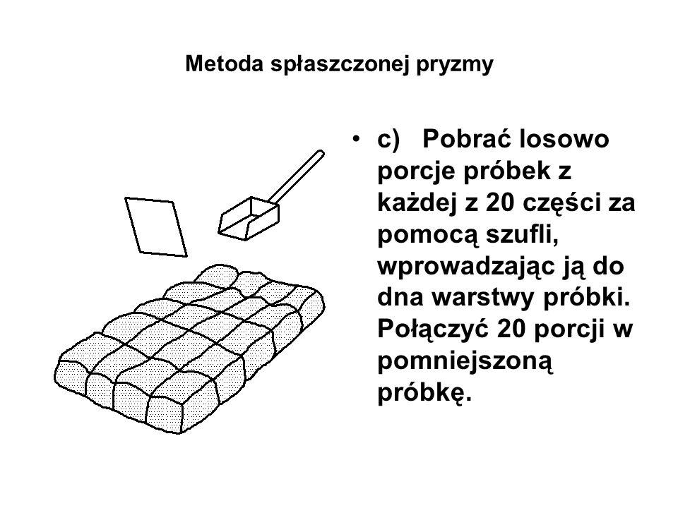 Metoda spłaszczonej pryzmy c) Pobrać losowo porcje próbek z każdej z 20 części za pomocą szufli, wprowadzając ją do dna warstwy próbki. Połączyć 20 po
