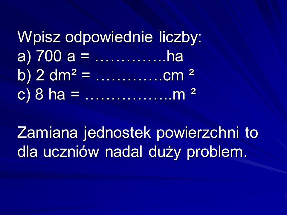Wpisz odpowiednie liczby: a) 700 a = …………..ha b) 2 dm² = ………….cm ² c) 8 ha = ……………..m ² Zamiana jednostek powierzchni to dla uczniów nadal duży proble
