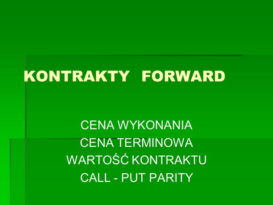 KONTRAKTY FORWARD CENA WYKONANIA CENA TERMINOWA WARTOŚĆ KONTRAKTU CALL - PUT PARITY