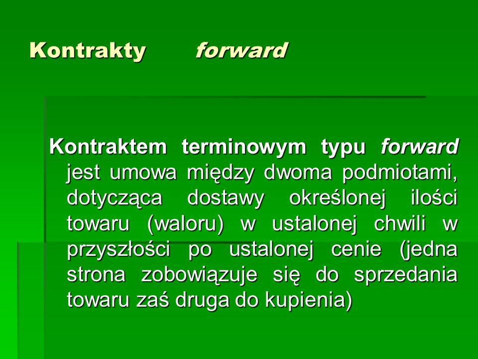 Kontrakty forward Kontraktem terminowym typu forward jest umowa między dwoma podmiotami, dotycząca dostawy określonej ilości towaru (waloru) w ustalonej chwili w przyszłości po ustalonej cenie (jedna strona zobowiązuje się do sprzedania towaru zaś druga do kupienia)