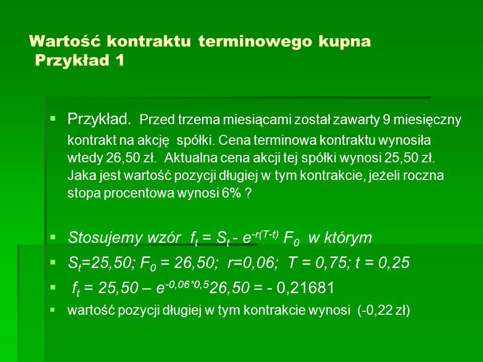 Wartość kontraktu terminowego kupna Przykład 1   Przykład.