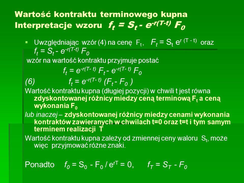 Wartość kontraktu terminowego kupna Interpretacje wzoru f t = S t - e -r(T-t) F 0   Uwzględniając wzór (4) na cenę F t, F t = S t e r (T - t) oraz f t = S t - e -r(T-t) F 0 wzór na wartość kontraktu przyjmuje postać f t = e -r(T- t) F t - e -r(T- t) F 0 (6) f t = e -r(T- t) (F t - F 0 ) Wartość kontraktu kupna (długiej pozycji) w chwili t jest równa zdyskontowanej różnicy miedzy ceną terminową F t a ceną wykonania F 0 lub inaczej – zdyskontowanej różnicy miedzy cenami wykonania kontraktów zawieranych w chwilach t=0 oraz t=t i tym samym terminem realizacji T Wartość kontraktu kupna zależy od zmiennej ceny waloru S t, może więc przyjmować różne znaki.