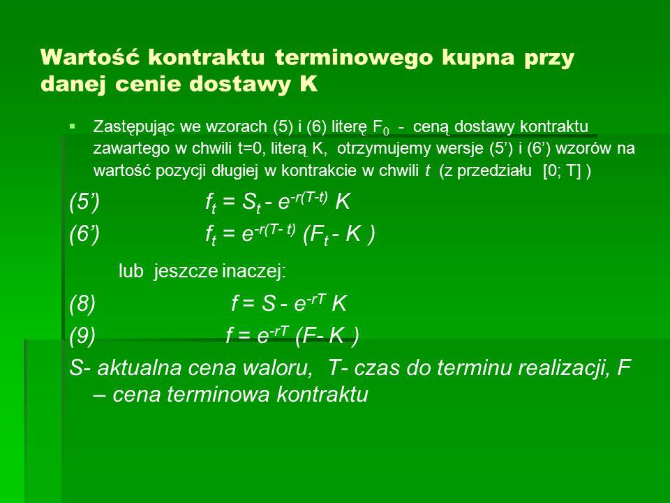 Wartość kontraktu terminowego kupna przy danej cenie dostawy K   Zastępując we wzorach (5) i (6) literę F 0 - ceną dostawy kontraktu zawartego w chwili t=0, literą K, otrzymujemy wersje (5') i (6') wzorów na wartość pozycji długiej w kontrakcie w chwili t (z przedziału [0; T] ) (5') f t = S t - e -r(T-t) K (6') f t = e -r(T- t) (F t - K ) lub jeszcze inaczej: (8) f = S - e -rT K (9) f = e -rT (F- K ) S- aktualna cena waloru, T- czas do terminu realizacji, F – cena terminowa kontraktu