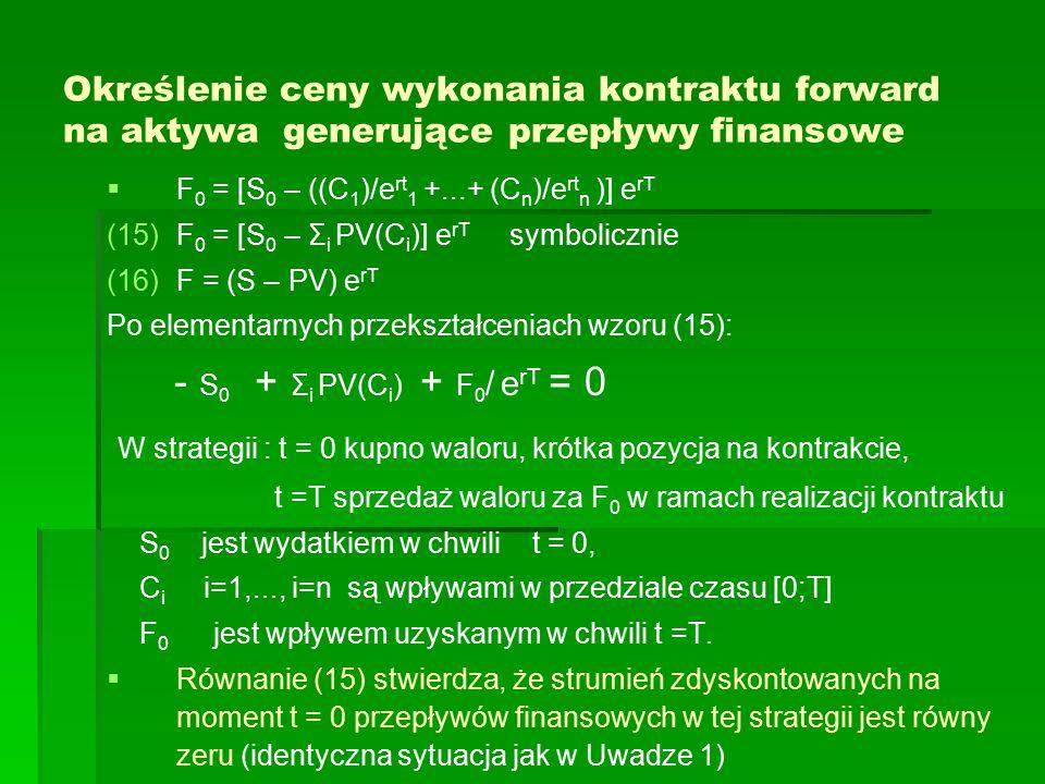 Określenie ceny wykonania kontraktu forward na aktywa generujące przepływy finansowe   F 0 = [S 0 – ((C 1 )/e rt 1 +...+ (C n )/e rt n )] e rT (15) (15)F 0 = [S 0 – Σ i PV(C i )] e rT symbolicznie (16) (16)F = (S – PV) e rT Po elementarnych przekształceniach wzoru (15): - S 0 + Σ i PV(C i ) + F 0 / e rT = 0 W strategii : t = 0 kupno waloru, krótka pozycja na kontrakcie, t =T sprzedaż waloru za F 0 w ramach realizacji kontraktu S 0 jest wydatkiem w chwili t = 0, C i i=1,..., i=n są wpływami w przedziale czasu [0;T] F 0 jest wpływem uzyskanym w chwili t =T.