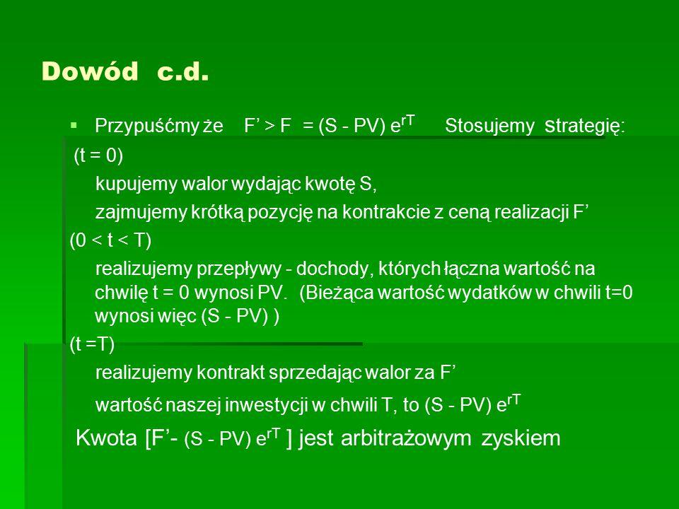 Dowód c.d.   Przypuśćmy że F' > F = (S - PV) e rT Stosujemy s trategię: (t = 0) kupujemy walor wydając kwotę S, zajmujemy krótką pozycję na kontrakc