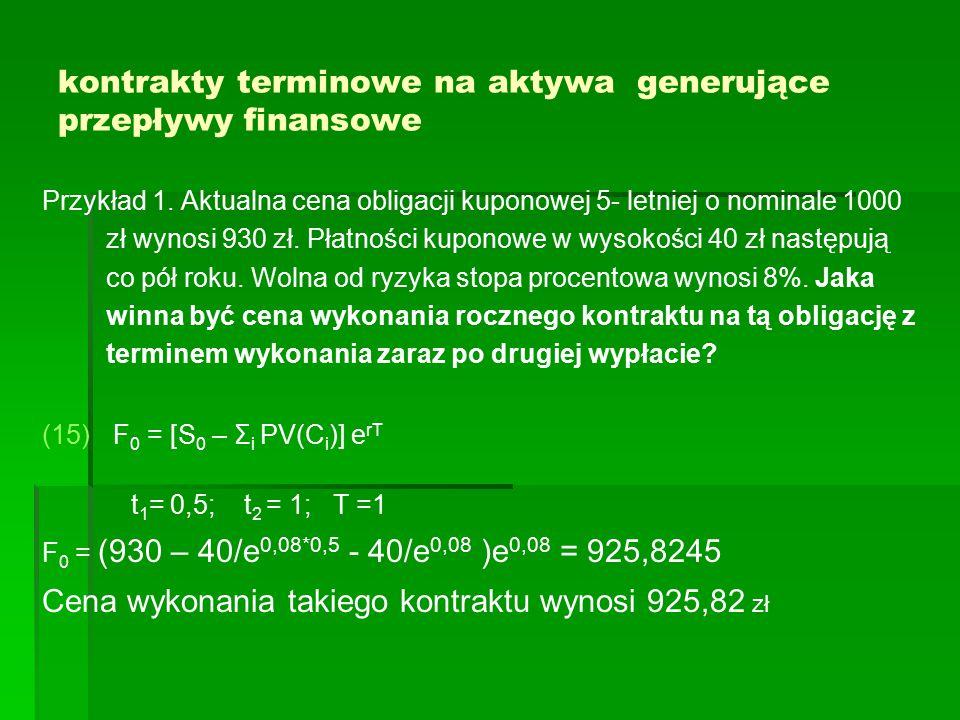 kontrakty terminowe na aktywa generujące przepływy finansowe Przykład 1. Aktualna cena obligacji kuponowej 5- letniej o nominale 1000 zł wynosi 930 zł