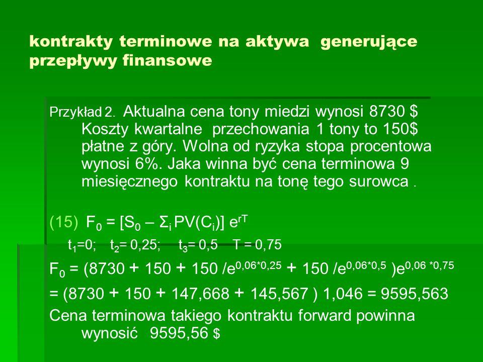 kontrakty terminowe na aktywa generujące przepływy finansowe Przykład 2. Aktualna cena tony miedzi wynosi 8730 $ Koszty kwartalne przechowania 1 tony