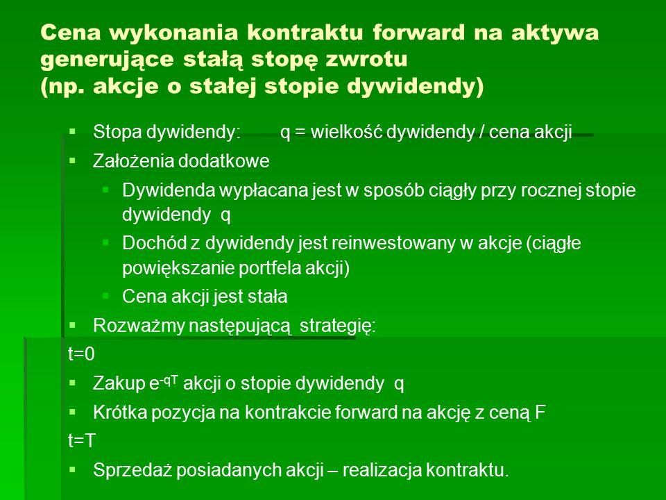 Cena wykonania kontraktu forward na aktywa generujące stałą stopę zwrotu (np. akcje o stałej stopie dywidendy)   Stopa dywidendy: q = wielkość dywid