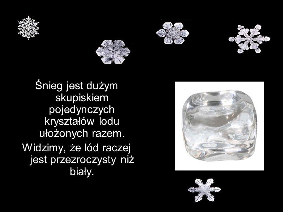 Śnieg jest dużym skupiskiem pojedynczych kryształów lodu ułożonych razem. Widzimy, że lód raczej jest przezroczysty niż biały.