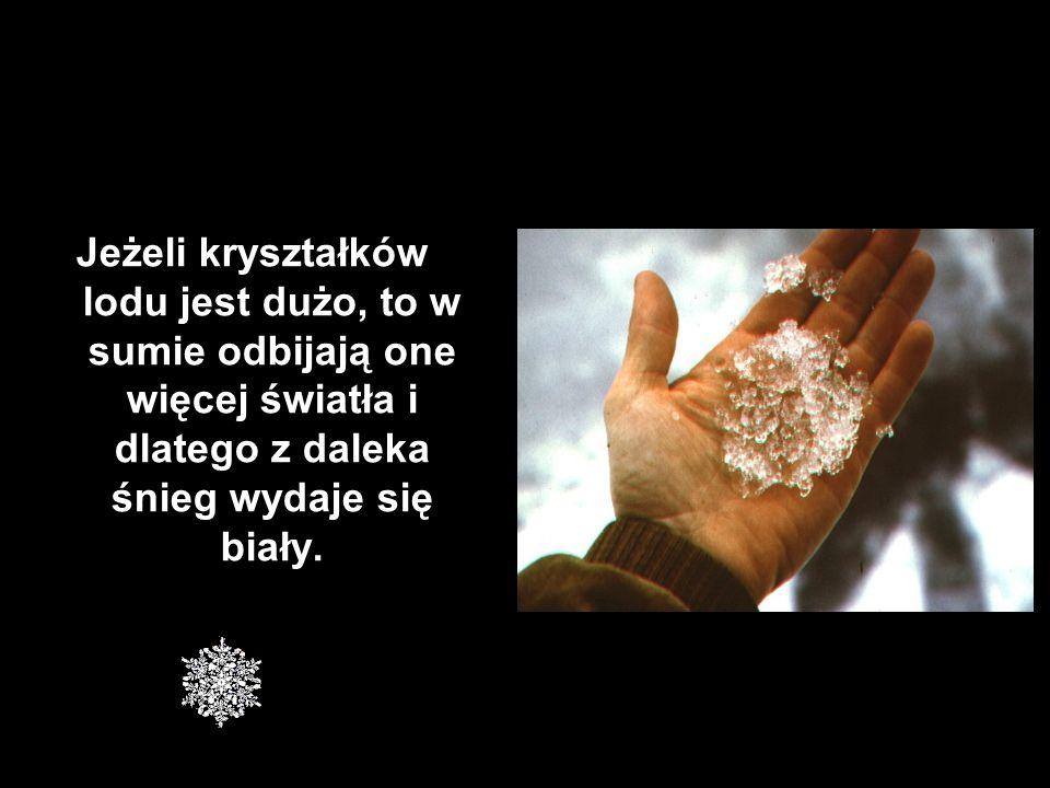 Jeżeli kryształków lodu jest dużo, to w sumie odbijają one więcej światła i dlatego z daleka śnieg wydaje się biały.
