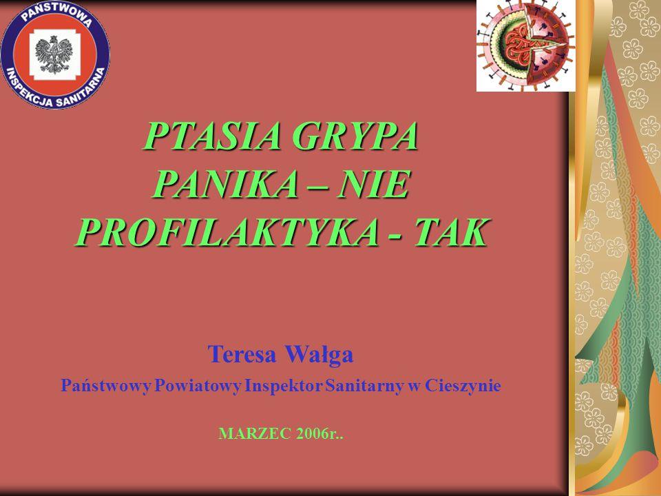 PTASIA GRYPA PANIKA – NIE PROFILAKTYKA - TAK Teresa Wałga Państwowy Powiatowy Inspektor Sanitarny w Cieszynie MARZEC 2006r..
