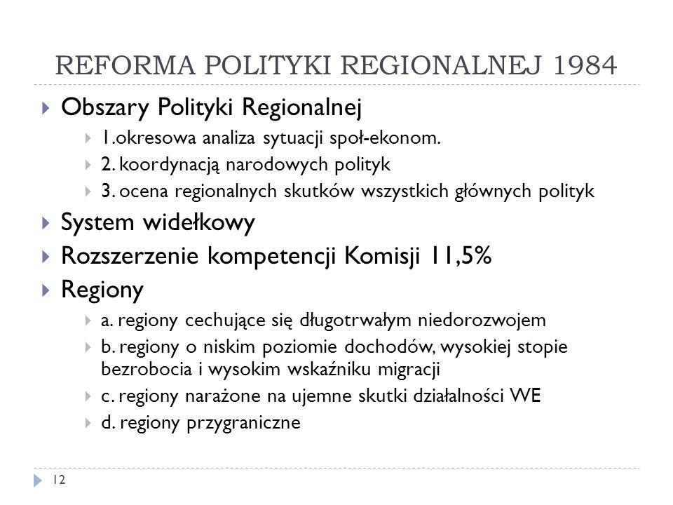 REFORMA POLITYKI REGIONALNEJ 1984  Obszary Polityki Regionalnej  1.okresowa analiza sytuacji społ-ekonom.
