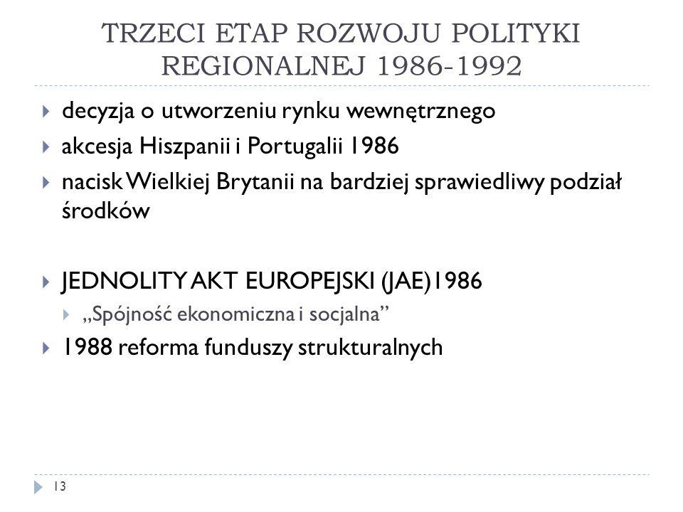 """TRZECI ETAP ROZWOJU POLITYKI REGIONALNEJ 1986-1992  decyzja o utworzeniu rynku wewnętrznego  akcesja Hiszpanii i Portugalii 1986  nacisk Wielkiej Brytanii na bardziej sprawiedliwy podział środków  JEDNOLITY AKT EUROPEJSKI (JAE)1986  """"Spójność ekonomiczna i socjalna  1988 reforma funduszy strukturalnych 13"""
