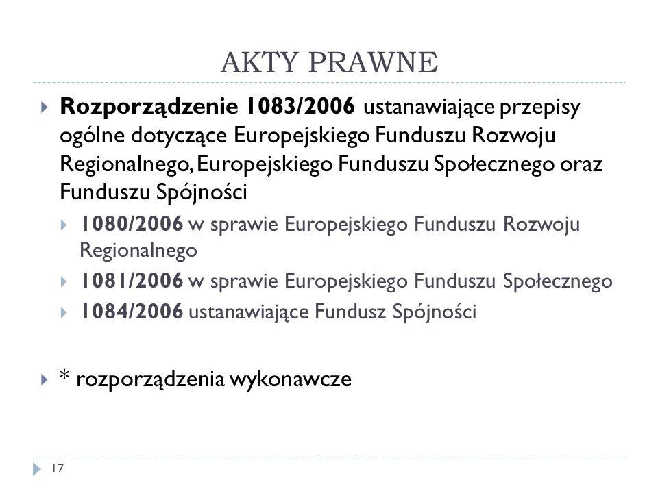 AKTY PRAWNE  Rozporządzenie 1083/2006 ustanawiające przepisy ogólne dotyczące Europejskiego Funduszu Rozwoju Regionalnego, Europejskiego Funduszu Społecznego oraz Funduszu Spójności  1080/2006 w sprawie Europejskiego Funduszu Rozwoju Regionalnego  1081/2006 w sprawie Europejskiego Funduszu Społecznego  1084/2006 ustanawiające Fundusz Spójności  * rozporządzenia wykonawcze 17