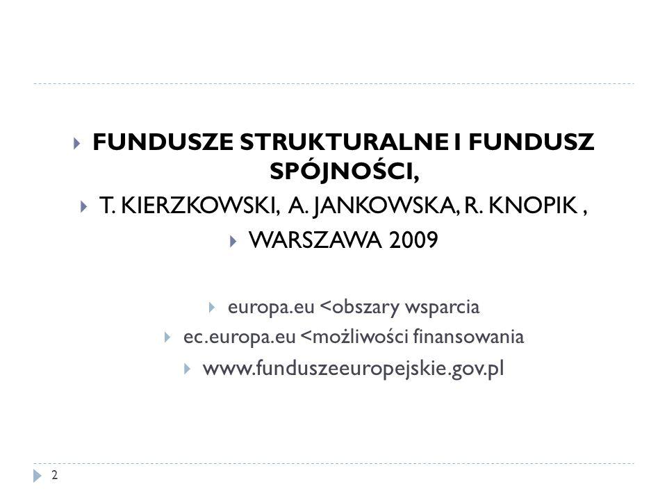  FUNDUSZE STRUKTURALNE I FUNDUSZ SPÓJNOŚCI,  T.KIERZKOWSKI, A.