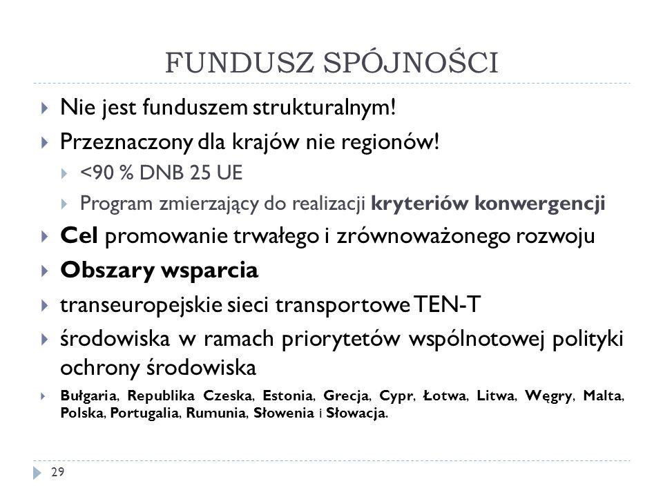 FUNDUSZ SPÓJNOŚCI 29  Nie jest funduszem strukturalnym.