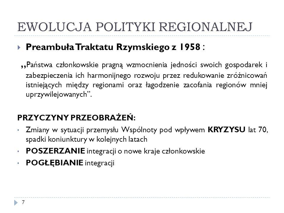 """EWOLUCJA POLITYKI REGIONALNEJ  Preambuła Traktatu Rzymskiego z 1958 : """" Państwa członkowskie pragną wzmocnienia jedności swoich gospodarek i zabezpieczenia ich harmonijnego rozwoju przez redukowanie zróżnicowań istniejących między regionami oraz łagodzenie zacofania regionów mniej uprzywilejowanych ."""