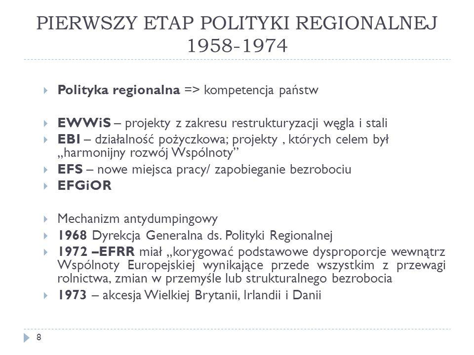 """PIERWSZY ETAP POLITYKI REGIONALNEJ 1958-1974  Polityka regionalna => kompetencja państw  EWWiS – projekty z zakresu restrukturyzacji węgla i stali  EBI – działalność pożyczkowa; projekty, których celem był """"harmonijny rozwój Wspólnoty  EFS – nowe miejsca pracy/ zapobieganie bezrobociu  EFGiOR  Mechanizm antydumpingowy  1968 Dyrekcja Generalna ds."""