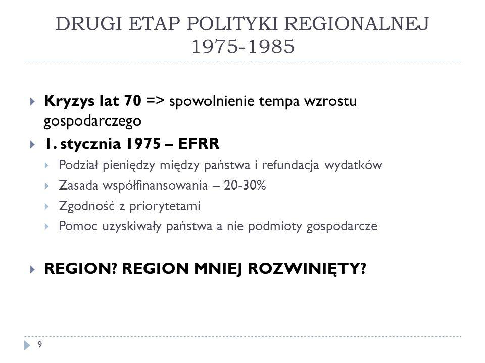 DRUGI ETAP POLITYKI REGIONALNEJ 1975-1985  Kryzys lat 70 => spowolnienie tempa wzrostu gospodarczego  1.
