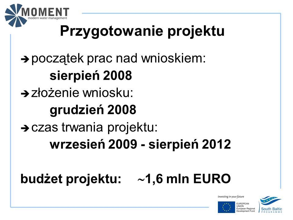 Przygotowanie projektu  początek prac nad wnioskiem: sierpień 2008  złożenie wniosku: grudzień 2008  czas trwania projektu: wrzesień 2009 - sierpień 2012 budżet projektu:  1,6 mln EURO