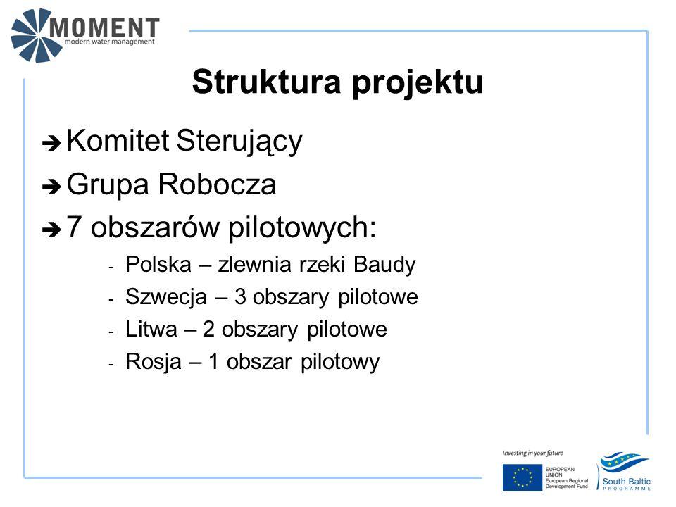 Struktura projektu  Komitet Sterujący  Grupa Robocza  7 obszarów pilotowych: - Polska – zlewnia rzeki Baudy - Szwecja – 3 obszary pilotowe - Litwa – 2 obszary pilotowe - Rosja – 1 obszar pilotowy