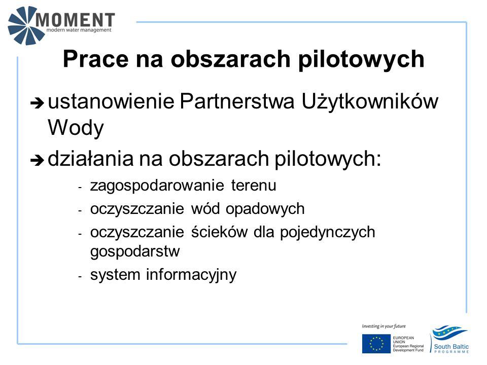 Prace na obszarach pilotowych  ustanowienie Partnerstwa Użytkowników Wody  działania na obszarach pilotowych: - zagospodarowanie terenu - oczyszczanie wód opadowych - oczyszczanie ścieków dla pojedynczych gospodarstw - system informacyjny